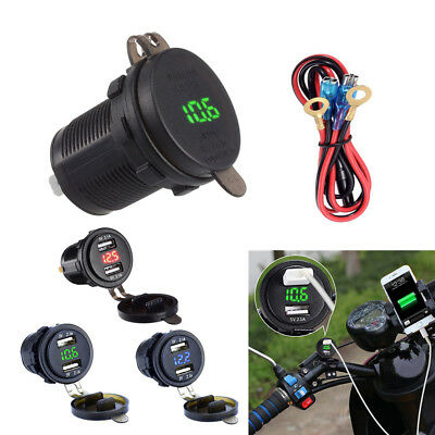 12V ATV Motorcycle USB Charger 2.1A *2 Green LED Voltage Voltmeter Cap Universal