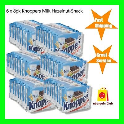 6 x 8pk Knoppers Milk Hazelnut Snack Crispy Wafers Made in Germany eBargainClub