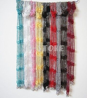 Fashion Women Girl Crocheted Bling Rhinestone Beads Knitted Scarf Lady Colorful