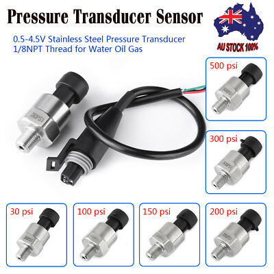 30-500PSI Pressure Transducer Sensor 1/8'' NPT Thread for Oil Fuel Air Diesel AU