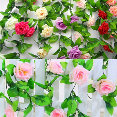 8ft Artificial Fake Silk Rose Flowers Ivy Vine Garland Wedding Party Home Decor