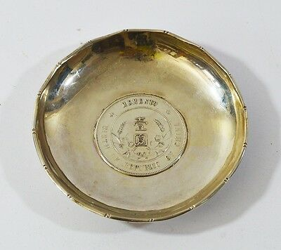Antique Chinese Sterling Silver Dish Memento Wai Kee 62 Grams