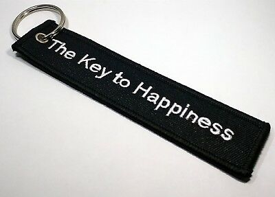 1pcs The Key To Happiness Embroidered Canvas Special Luggage Tag Label Key Ring