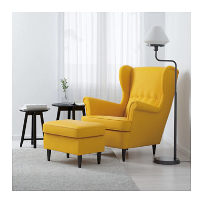Exceptionnel IKEA STRANDMON Wing Chair, High Back, In Skiftebo Yellow With Foot Stool New