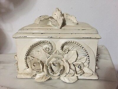Antique home decor French jewellery Roses Rare Box