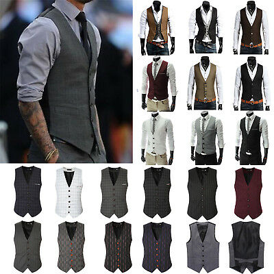 Mens Formal Business Waistcoat Smart Dress Vest Slim Tuxedo Cotton Jacket Coat