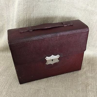 Antique Edwardian Leather Vanity Fitted Case Travel Box Bag Luggage