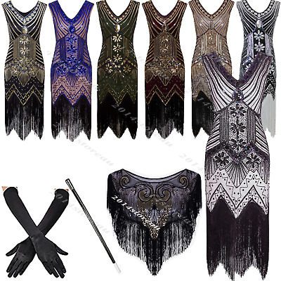 1920s Flapper Dress Vintage Great Gatsby Party Fringed 20s Sequin Beaded Costume