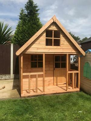 Wooden 8x6 Outdoor Childrens Playhouse Fully T G Wendy House Kids Timber Den
