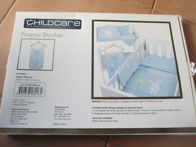 Newborn Baby Childcare Nappy Stacker Organiser for Boy Girl Pale Blue New