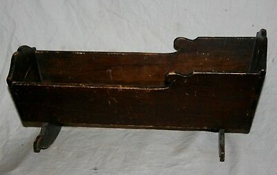 """HANDMADE ANTIQUE EARLY CENTURY WOODEN DOLL CRADLE 21"""" LONG x 8"""" WIDE x 9"""" HIGH"""