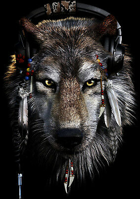 Art print POSTER / Canvas Indian And Wolf