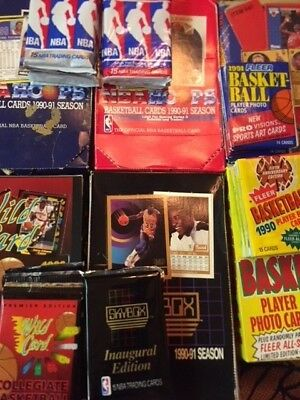 Basketball Wax Packs -lot of 5 UNOPENED VINTAGE NBA CARDS IN PACKS - 70+ cards!!