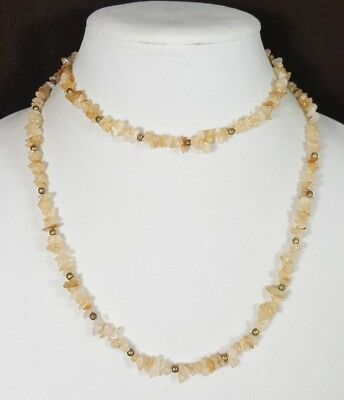 Stunning Estate Vtg Necklace Tan/Beige Natural Stone Beads Unique Style  #5075