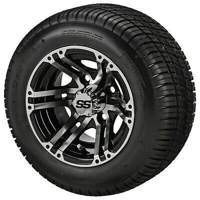 (4)Golf Cart 205/50-10 Tire on 10x7 Blk/Machined Type 6 Wheel W/Free Freight