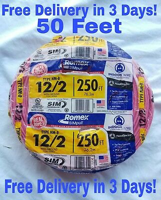 12/2 W/ground Romex Indoor Electrical Wire 50' Feet (All Lengths Available)