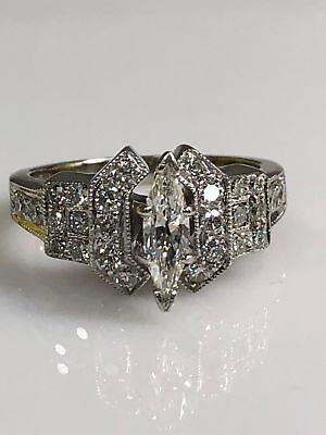 Vintage Antique Diamond Marquise Engagement Ring Art Deco Style Victorian 1935's