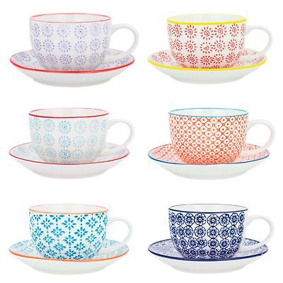 Cappuccino Cups and Saucers Set Coffee Tea Porcelain 250ml - 3 Patterns - x12