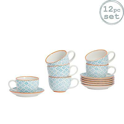 Cappuccino Cups and Saucers Set Coffee Tea Porcelain 250ml - Blue Orange - x6