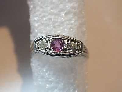 Vintage Antique Filigree 14k Old Mine Cut Pink Sapphire & Diamond Ring sz 6