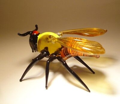 "Blown Glass ""Murano"" Art Animal Figurine Insect Striped Giant Bee WASP"