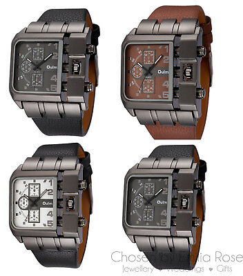 Mens Casual Leather Oulm Fashion Wrist Watch Stainless Steel Quartz Watches New