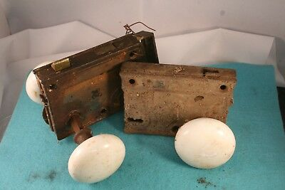3 pc Vintage ANTIQUE WHITE GLASS? PORCELAIN? Door Knob Metal Parts LOOK