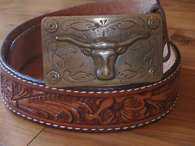 "Vtg Tony Lama tooled belt & vtg Brass buckle 32"" - 34"" made in USA"