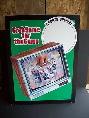 Pabst Blue Ribbon Large Cardboard Easel Beer Sign NOS Sports Special