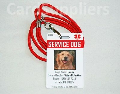 Service Dog ID Card with Red Lanyard
