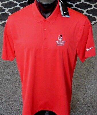 a8f847281 NEW Nike Golf Men s Victory Solid Dri-Fit Polo Shirt Red Large  Diamond  Resorts