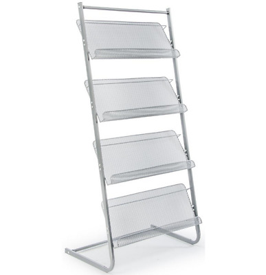 4 Tier Wire Mesh Literature Floor Display Stand for Magazines & Pamphlets