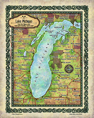 Lake Michigan, Michigan map, lake Michigan art, great lakes gifts, great lakes d
