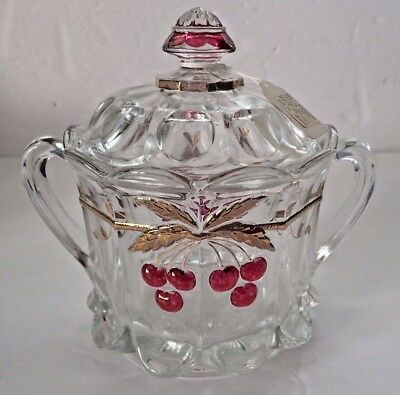VINTAGE Mosser Cherry Cable Thumbprint Adult Cracker Jar with Lid!  Gorgeous!