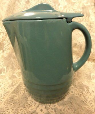 """Vintage Retro Water Pitcher With Lid~Hinged~Teal~1930'S-40'S~8.5"""" Tall"""