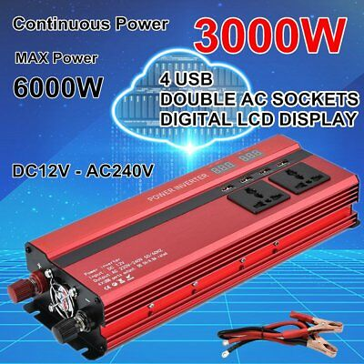 3000W 6000W 12V to 240V Car Power Converter Inverter Charger 4USB Digital LCD EG