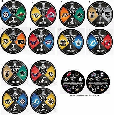 2018 Nhl Playoff Hockey Puck Set Of 13 Participant & 1St /2Nd Rounds Stanley Cup