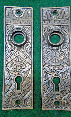 PAIR of CIRCA 1886 BRANFORD CAST IRON EASTLAKE BACKPLATES     (7660-1)