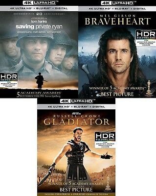 Saving Private Ryan, Braveheart, Gladiator (4K Ultra HD)(UHD)