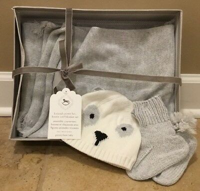 NEW Pottery Barn Kids Baby Knitted Critter Hat + Bootie + Blanket Set 3-4 Months