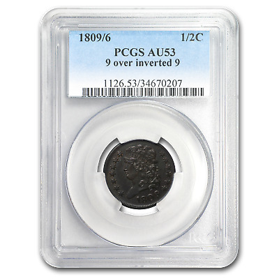 1809/6 Half Cent 9 Over Inverted 9 AU-53 PCGS (Brown) - SKU#168646