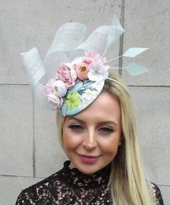 Blush Light Pink White Duck Egg Blue Floral Flower Feather Hat Fascinator 5764
