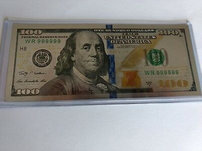CERTIFIED-24K GOLD PLATED US NEW $100 PAPER DOLLAR COLLECTORS BILL&1silver $100