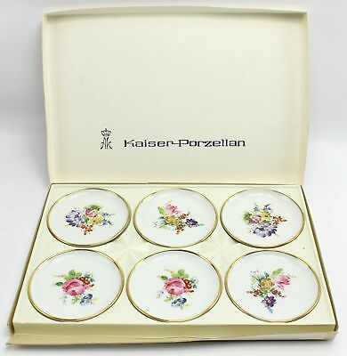"Vintage Kaiser 4"" Floral Rose Porcelain Pin Butter Pat Dish Set West Germany"