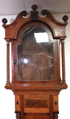 Lovely Antique Longcase Inlaid Craved Mahogany Grandfather Clock Case Only C1770