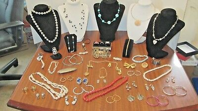Large Lot Of 45 Pcs. Of Vintage Necklaces Pins Earrings Etc. From A Local Estate