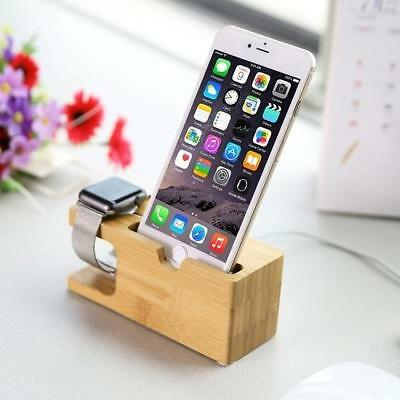 Wood and Bamboo Apple Watch Charger & Holder