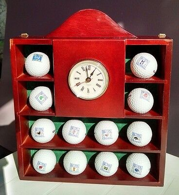 Golf Ball Wooden Display Cabinet Case Holder Big 10 Golf Balls Included  W/Clock