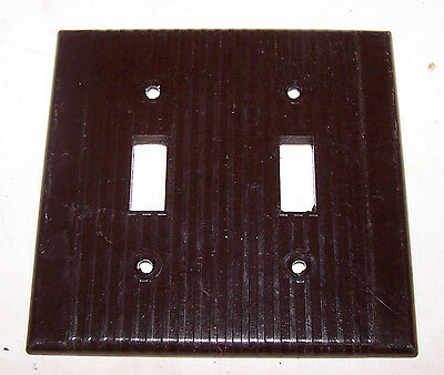 Vintage Brown LEVITON 2 Gang Double Toggle SWITCH COVER Bakelite Ribbed