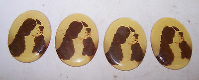 4 ENGLISH SPRINGER SPANIEL Dog Decorative Medallions for Crafts Art Jewelry